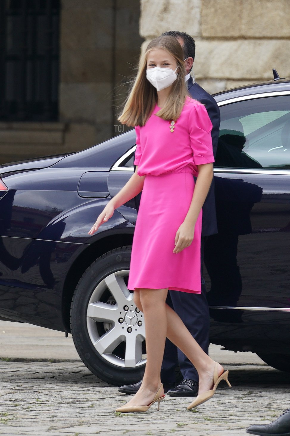 Spanish Royal Family members Crown Princess Leonor appears at the national offering to the apostle Santiago on Santiago's regional festivity at Santiago's Cathedral on July 25, 2021 in Santiago de Compostela