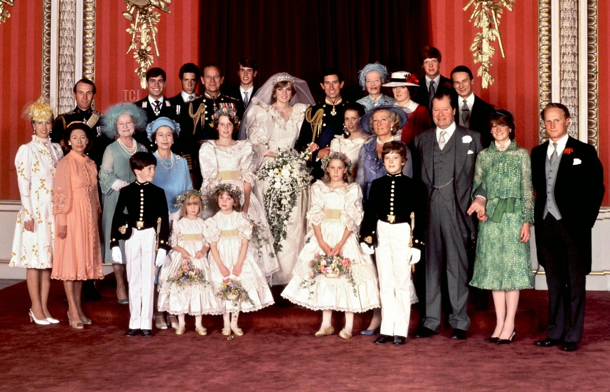 An official family photo taken on 29 July 1981, the wedding day of Prince Charles (C-R) and Lady Diana (C-L), the Princess of Wales. Back Row, from L - R: Mark Phillips, Prince Andrew, Viscount Linley, the Duke of Edinburgh, Prince Edward, the Princely Couple, Ruth, Lady Fermoy (the bride's grandmother), Lady Jane Fellowes (the bride's sister), Viscount Althorp (Diana's brother) and Robert Fellowes. Center row, from L - R: Princess Anne, Princess Margaret, the Queen Mother, Queen Elizabeth II, India Hicks, Lady Sarah Armstrong-Jones, Mrs. Shand Kydd (Diana's mother) Count Spencer, Lady Sarah McCorquedale (Diana's sister), Neil McCorquedale. Front row: ushers and bridesmaids
