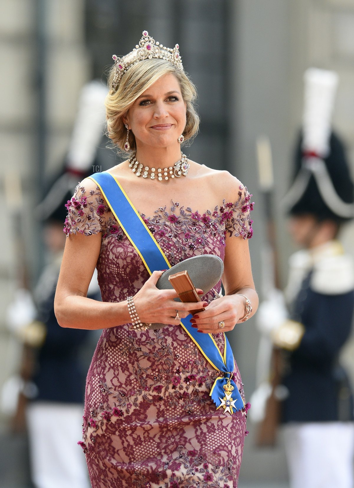 Queen Maxima of the Netherlands attends the wedding of Prince Carl Philip and Princess Sofia of Sweden, June 2015