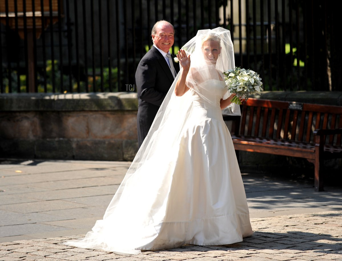 Zara Phillips, the eldest granddaughter of Britain's Queen Elizabeth II, arrives for her wedding to England rugby player Mike Tindall at Canongate Kirk in Edinburgh, Scotland, on July 30, 2011