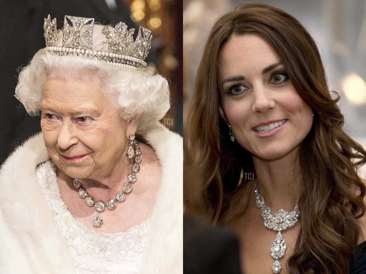 The Queen wears the Coronation Necklace, the Duchess of Cambridge wears the Nizam of Hyderabad Necklace