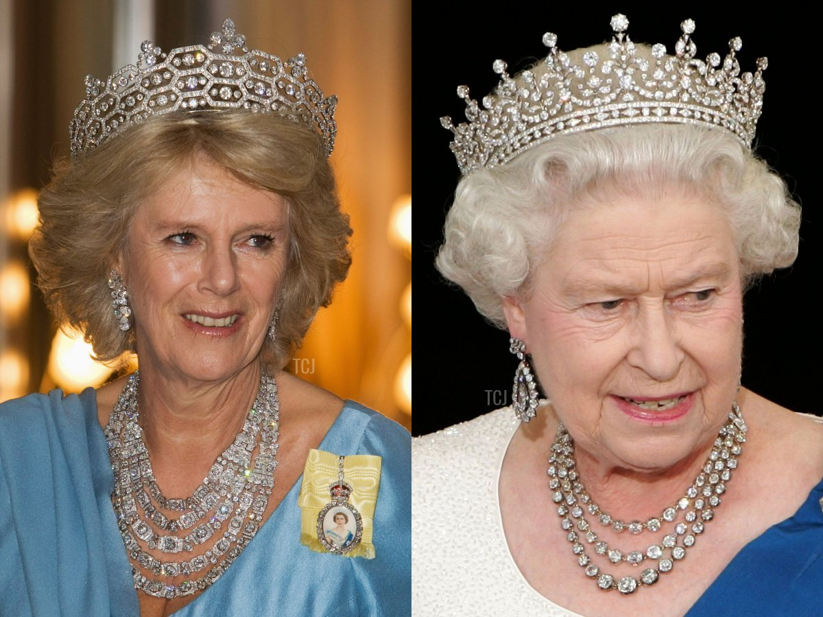 The Duchess of Cornwall wears the Greville Festoon Necklace, and the Queen wears her Diamond Festoon Necklace