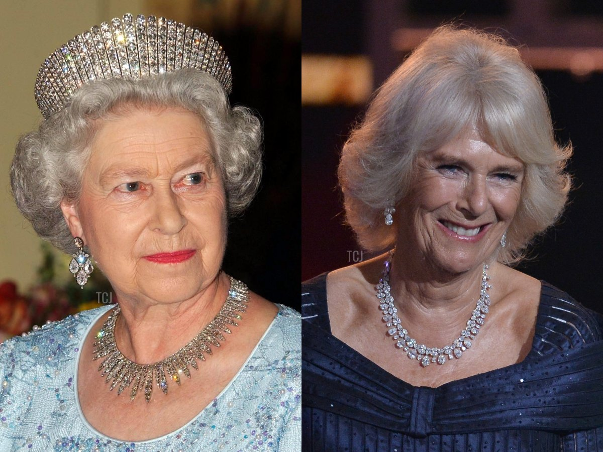 The City of London Fringe Necklace, Camilla's Pear-Shaped Diamond Necklace