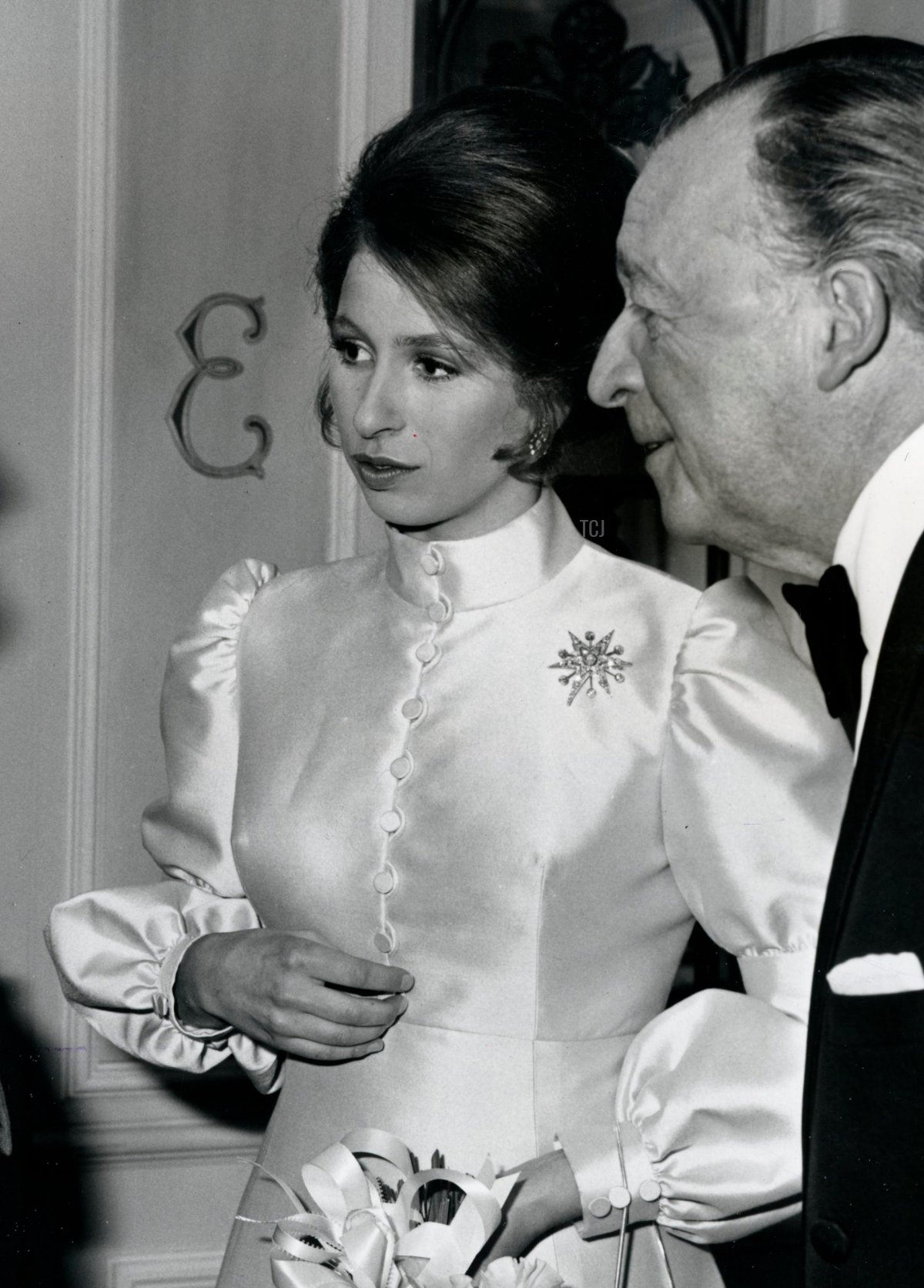June 10, 1971 - Paris, France - MAURICE BEJART producer of the Belgian National 20th Century Ballet Company chatting with PRINCESS ANNE and the Belgian Ambassador to London, BARON JEAN VAN DEN BOSCH