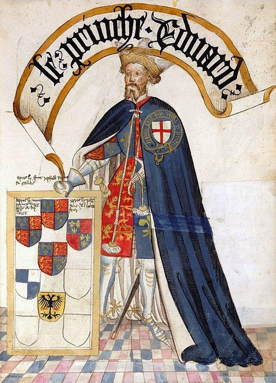 Edward of Woodstock depicted in the Bruges Garter Book, ca. 1453