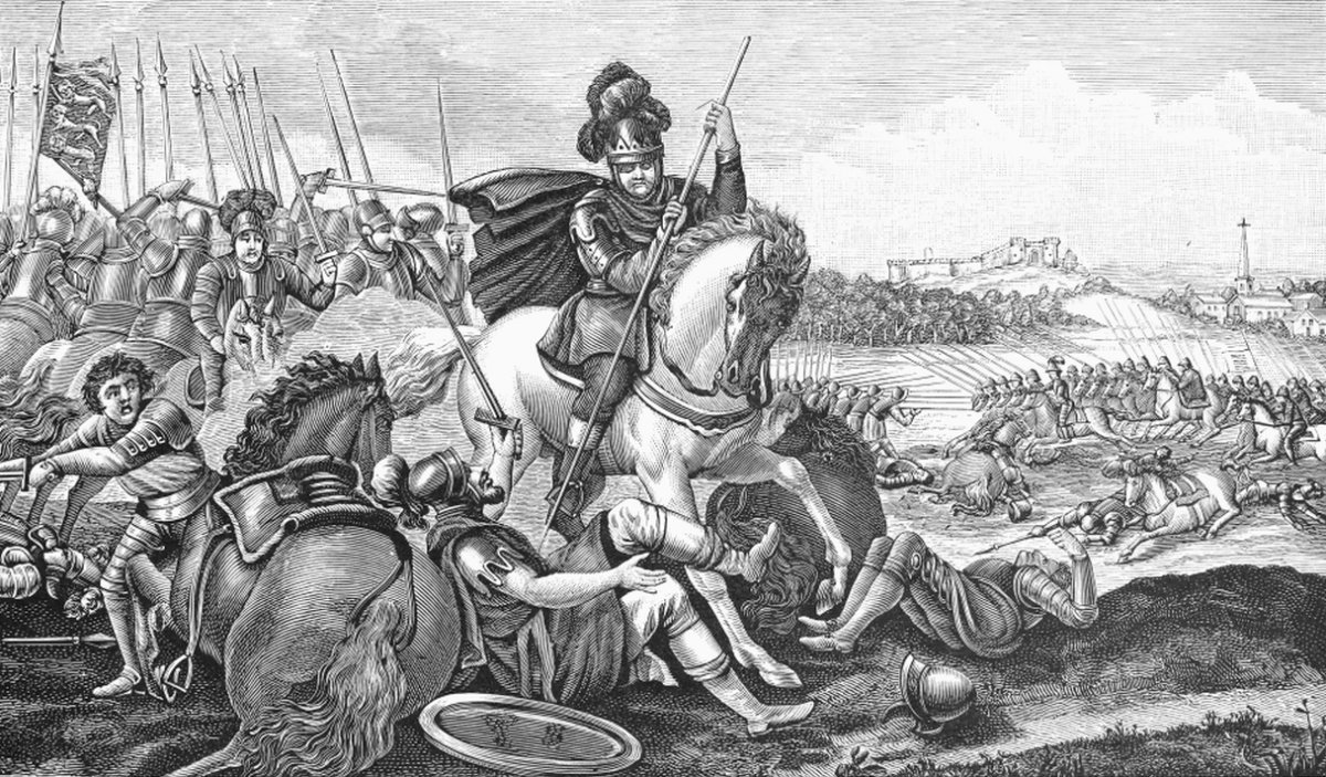 Battle of Agincourt, 1415. King Henry V of England at the Battle of Agincourt, France, 25 October 1415. Line engraving, 19th century