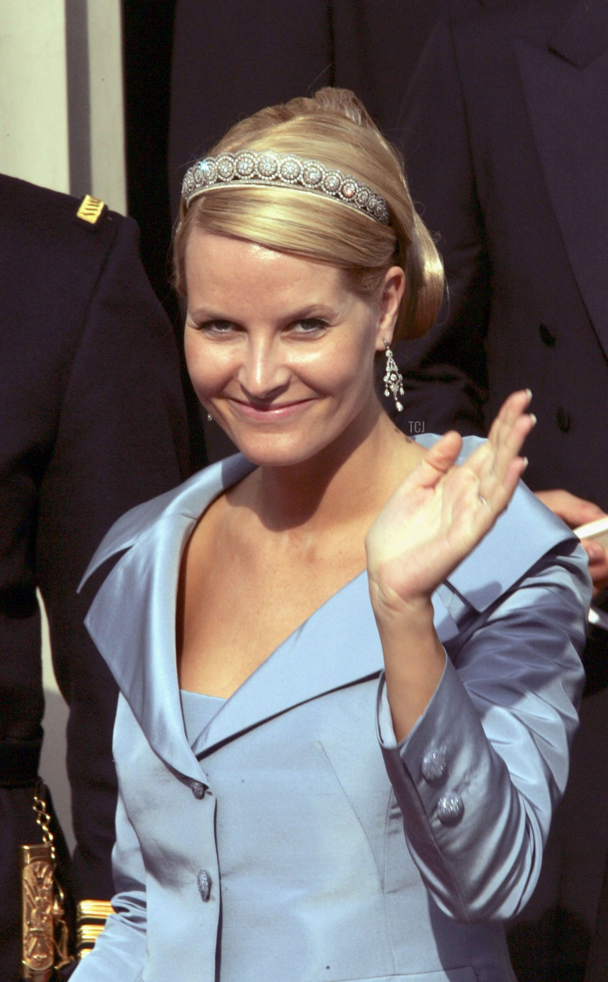 Crown Princess Mette-Marit of Norway leaves Copenhagen Cathedral after the wedding ceremony between Danish Crown Prince Frederik and Miss Mary Elizabeth Donaldson in Copenhagen Cathedral May 14, 2004
