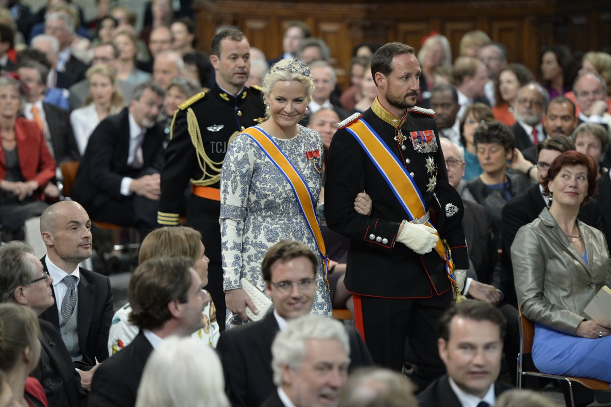 Prince Haakon and Princess Mette Marit of Norway during the inauguration ceremony of HM King Willem Alexander and HM Queen Maxima of the Netherlands at New Church on April 30, 2013 in Amsterdam