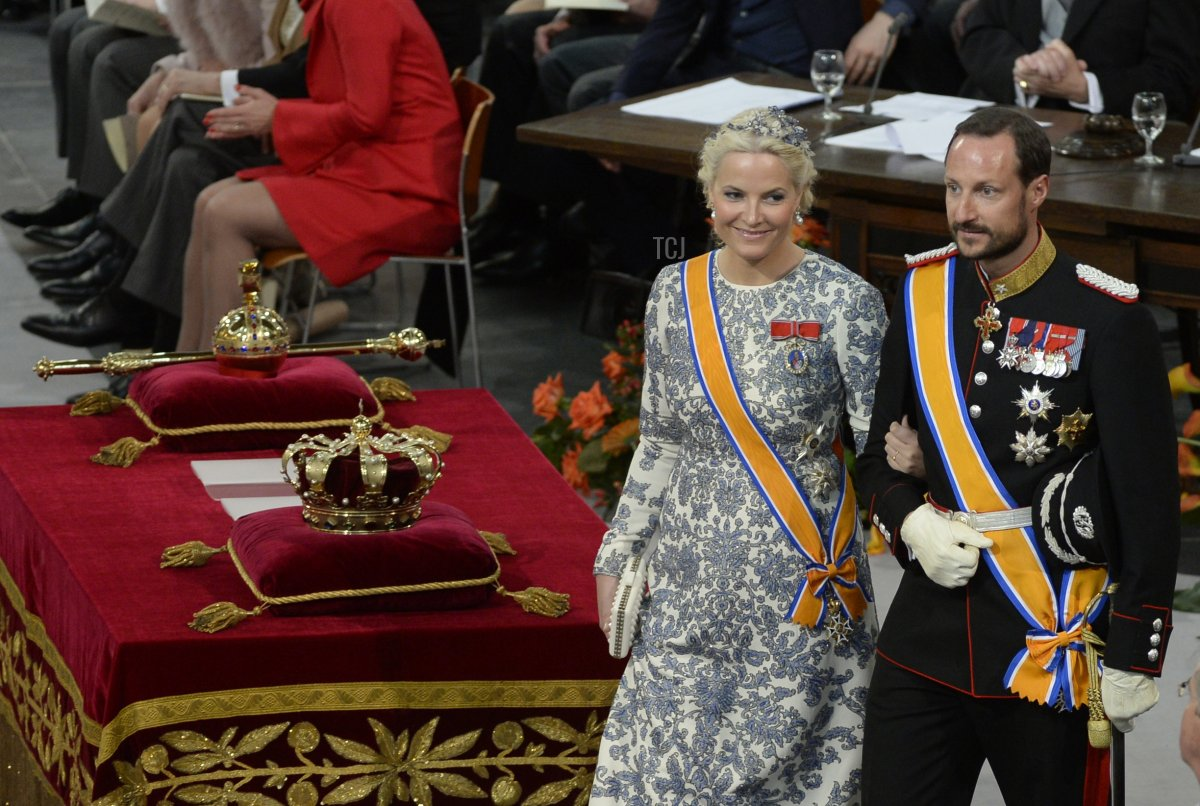 Norway's Crown Prince Haakon and his wife Crown Princess Mette-Marit arrive to attend the inauguration of King Willem-Alexander at Nieuwe Kerk (New Church) in Amsterdam on April 30, 2013