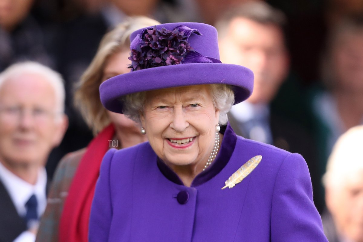 Queen Elizabeth II during the 2019 Braemar Highland Games at The Princess Royal and Duke of Fife Memorial Park on September 07, 2019 in Braemar, Scotland