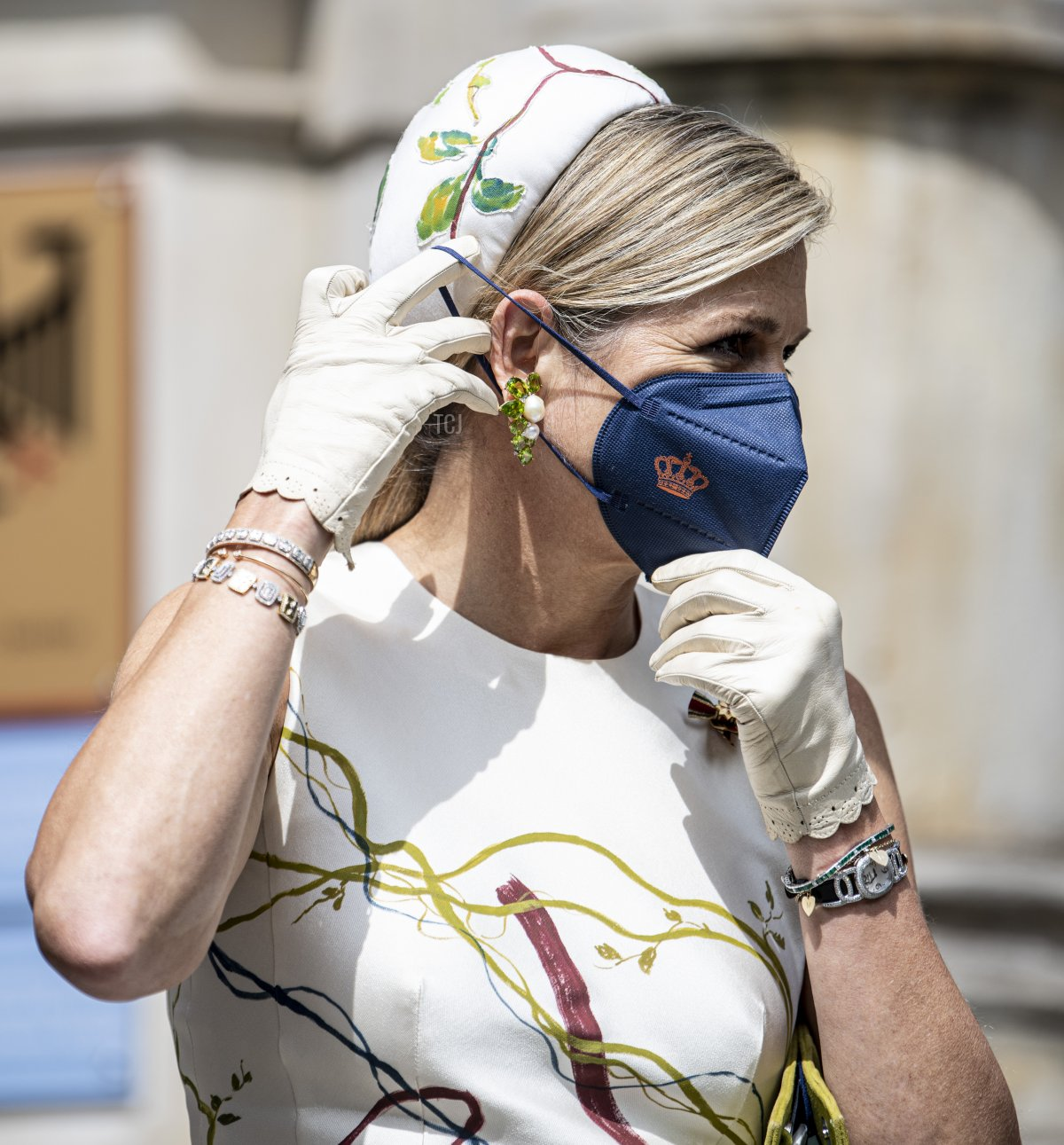 Queen Maxima of the Netherlands arrives for a visit to the Robert Koch Institute on July 05, 2021 in Berlin, Germany