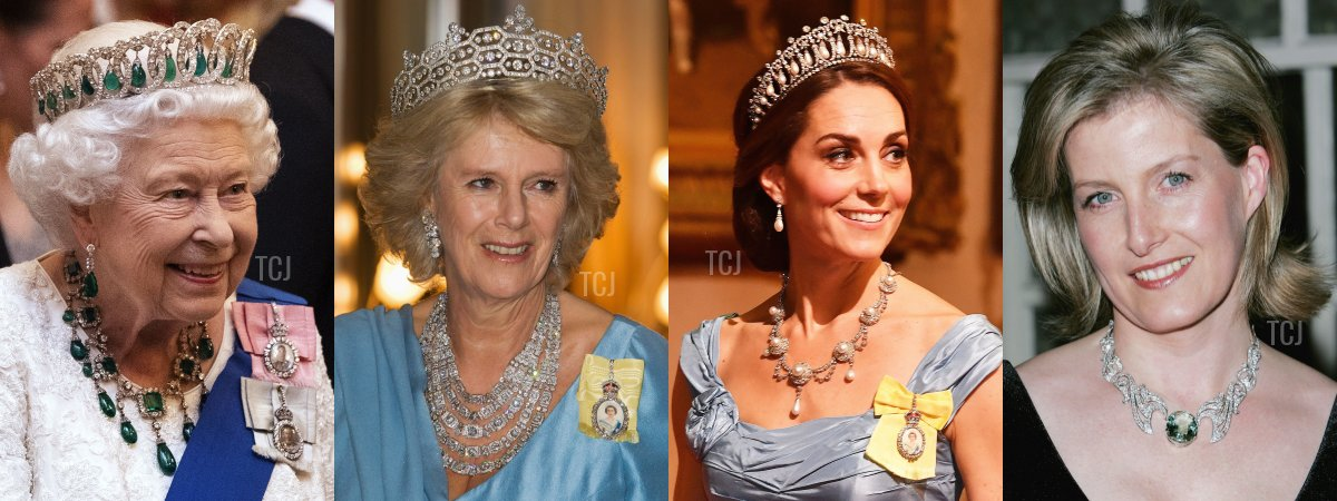 Ladies from the British royal family wear tiaras and necklaces