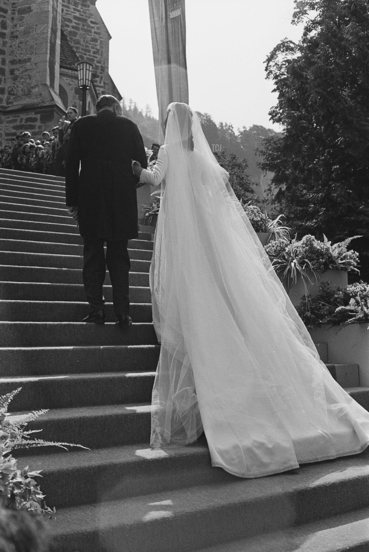 Countess Marie Aglaë Kinsky of Wchinitz and Tettau marries Hans-Adam II, Prince of Liechtenstein at Vaduz Cathedral, Liechtenstein, 30th July 1967