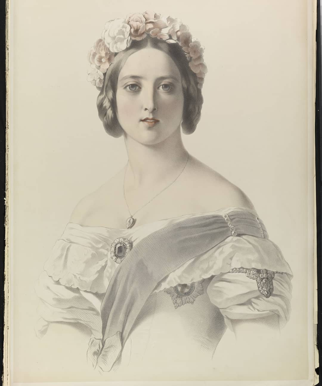 Émile Lassalle lithograph of young Queen Victoria