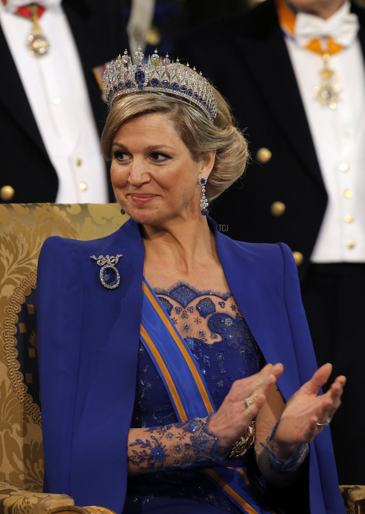 Queen Maxima of the Netherlands sits on her throne during the inauguration ceremony of HM King Willem Alexander of the Netherlands at New Church on April 30, 2013 in Amsterdam, Netherlands