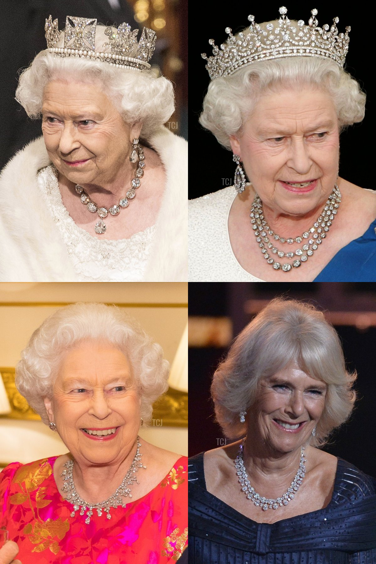 Clockwise (from top L): The Coronation Necklace, Queen Elizabeth II's Festoon Necklace, Camilla's Pear-Shaped Diamond Necklace, and the King Khalid Necklace