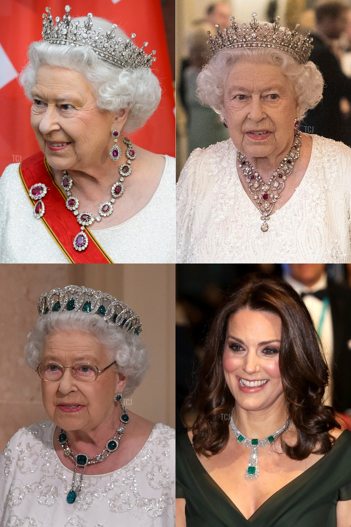 Clockwise (from top L): The Crown Ruby Necklace, The Greville Ruby Necklace, Kate's Modern Emerald Necklace, and the Delhi Durbar Necklace