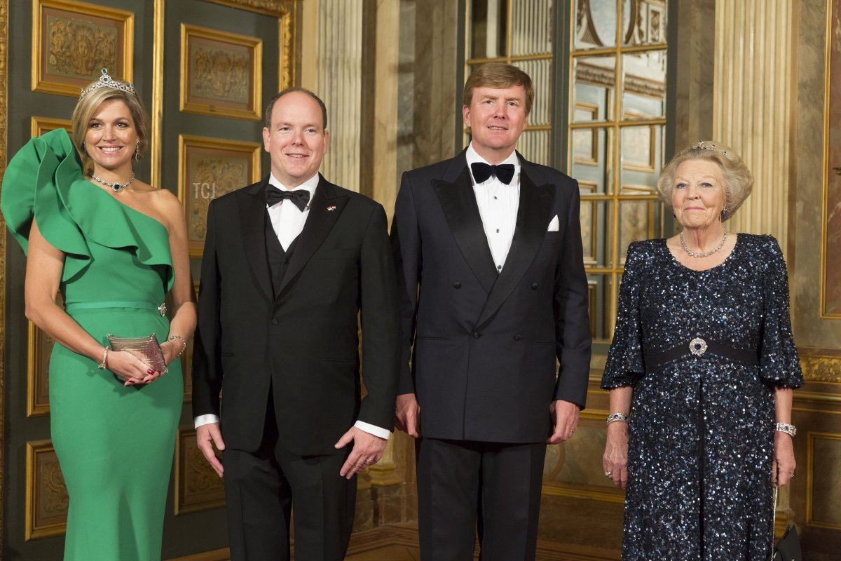 Queen Maxima of The Netherlands, Princess Beatrix of The Netherlands and King Willem-Alexander of The Netherlands arrive for dinner at the Loo Royal Palace on June 3, 2014 in Apeldoorn, Netherlands