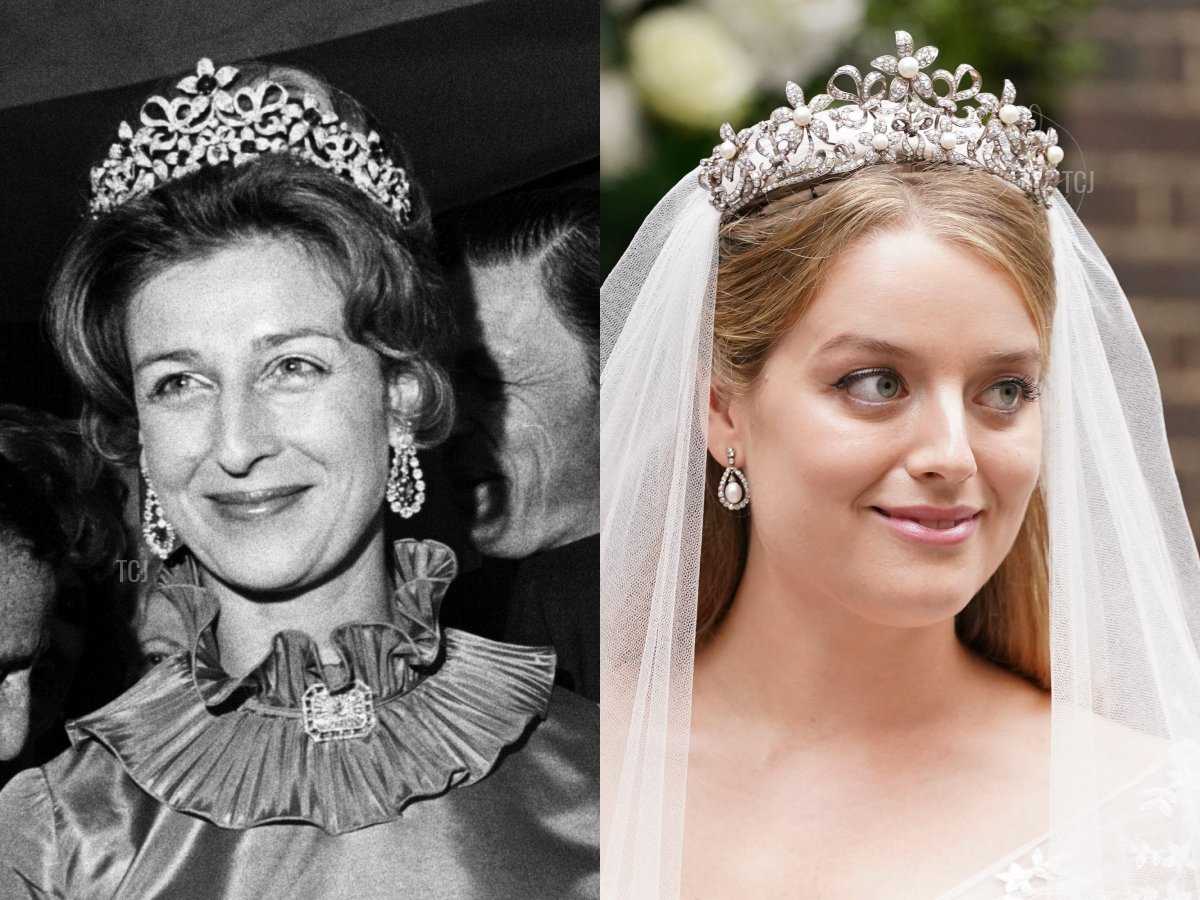 Alexandra wears the sapphire setting of the tiara at a Variety Clubs dinner reception, April 1972; Flora Ogilvy, granddaughter of Princess Alexandra, following her wedding to Timothy Vesterberg, leaves St James's Church in Piccadilly, central London, following their wedding ceremony