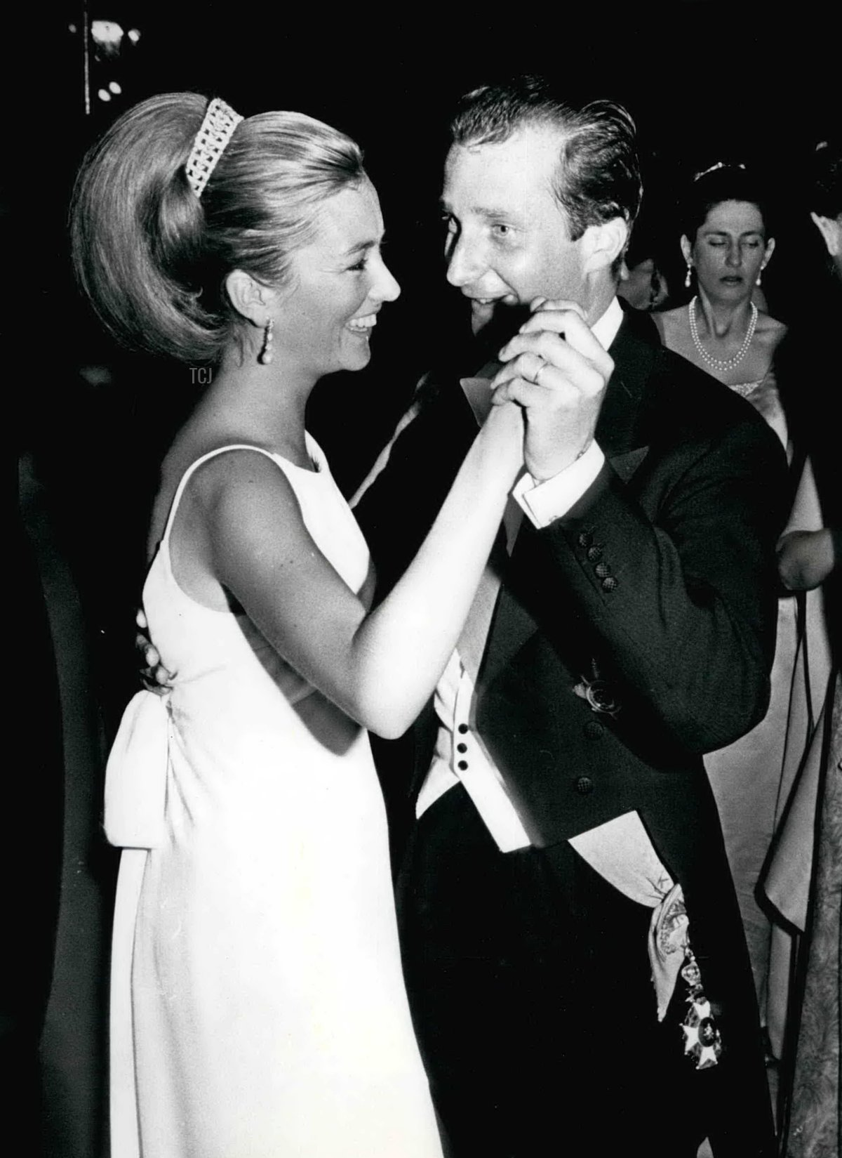 Prince Albert of Liege and his wife, Princess Paola, dancing during the Waterloo ball in Brussels, June 1965