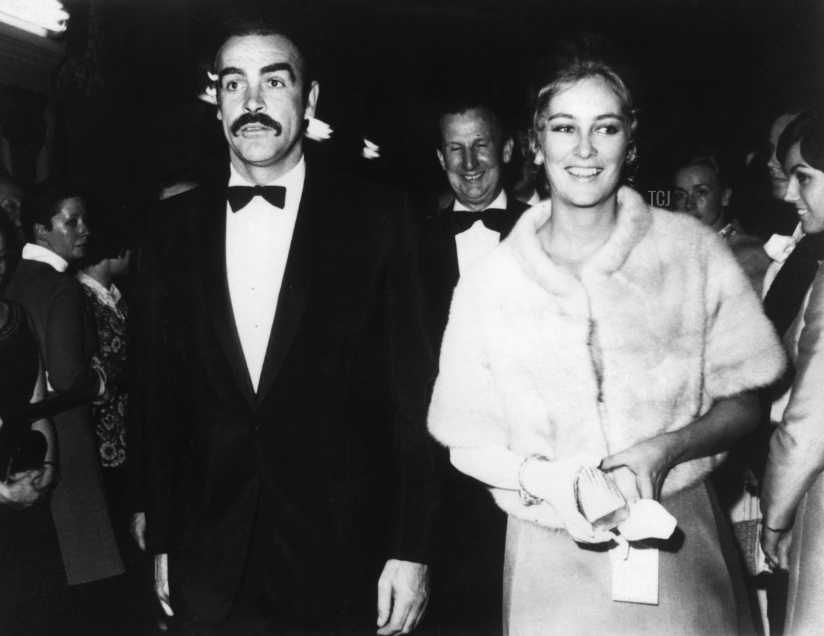 """US actor Sean Connery and Princess Paola of Belgium arrive for the premiere of the film """"Sahlako"""", 31 October 1968 in Belgium"""
