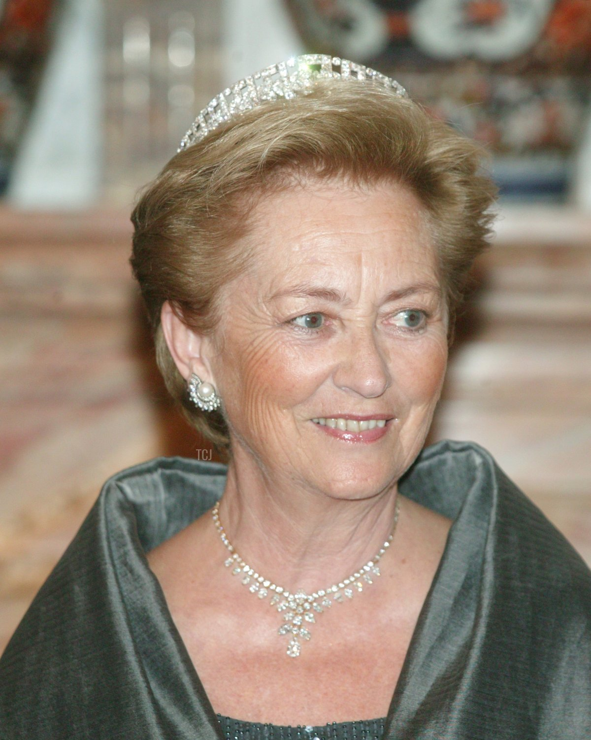Queen Paola, attends the gala dinner in their honour at the Laeken Castle on October 26, 2004 in Brussels, Belgium