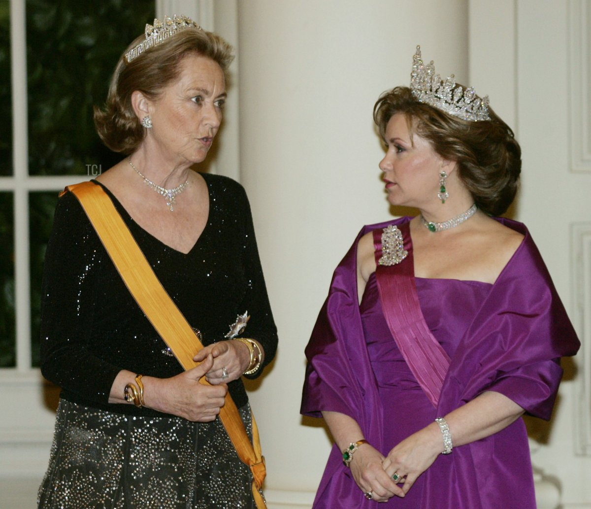 Queen Paola, Duchesse Maria Theresa pose for a photo at Laeken Castle on March 20 , 2007 in Brussels, Belgium