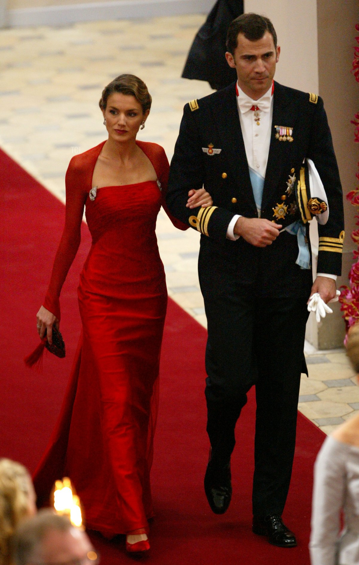 Crown Prince Felipe of Spain and his fiancee Letizia Ortiz Rocasolano attend the wedding of Danish Crown Prince Frederik and Miss Mary Elizabeth Donaldson at Copenhagen Cathedral on May 14, 2004 in Copenhagen, Denmark