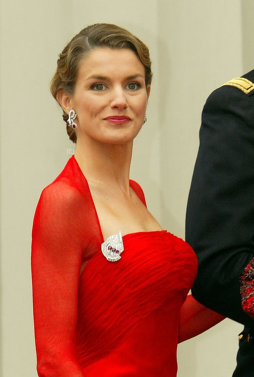 Spanish Crown Prince Felipe and his fiancee Letizia Ortiz Rocasolano arrive to attend the wedding between Danish Crown Prince Frederik and Miss Mary Elizabeth Donaldson in Copenhagen Cathedral May 14, 2004 in Copenhagen, Denmark