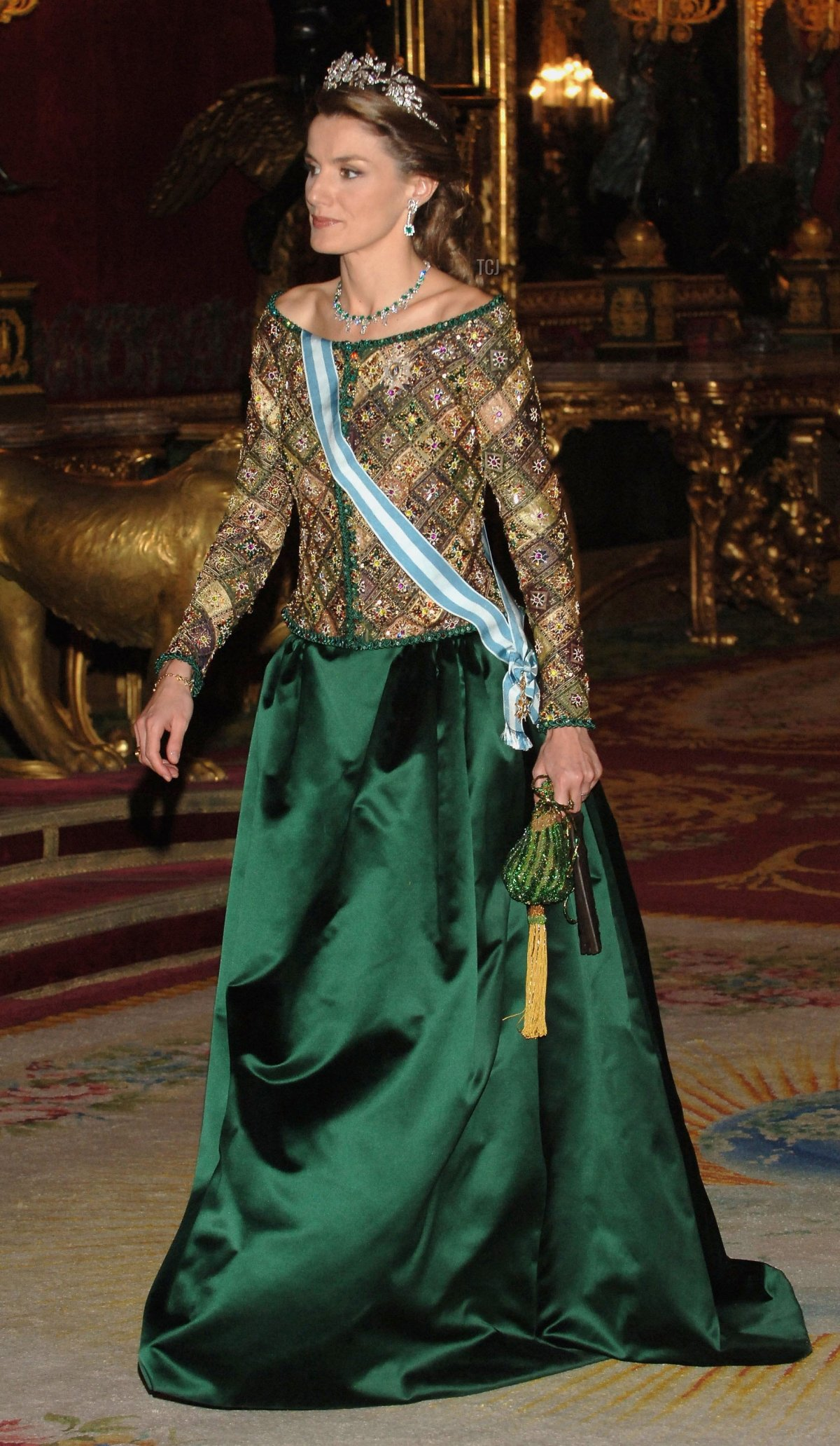 Princess Letizia of Spain attends an official dinner in honour of Russian President Vladimir Putin at the Royal Palace, on February 8, 2006 in Madrid, Spain