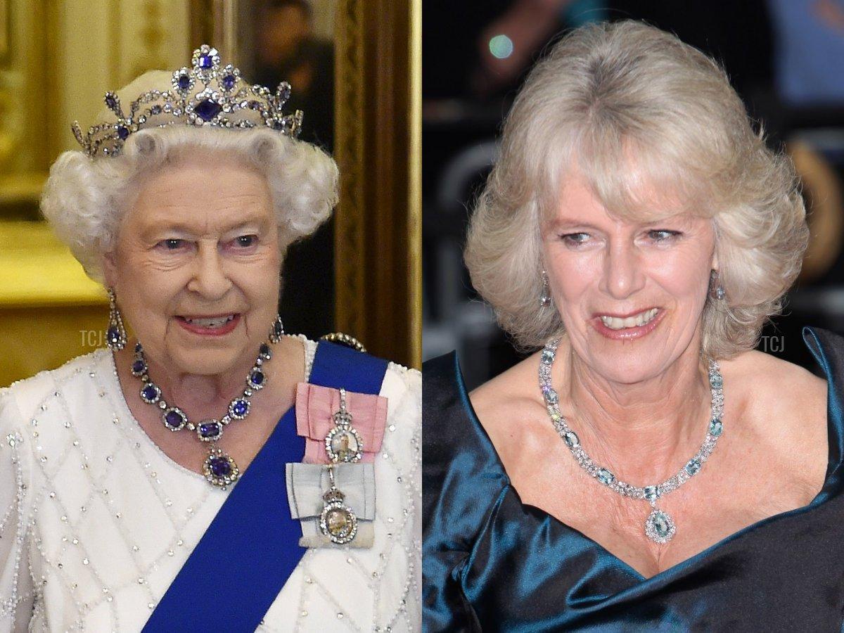 The George VI Sapphire Necklace, Camilla's Aquamarine Necklace