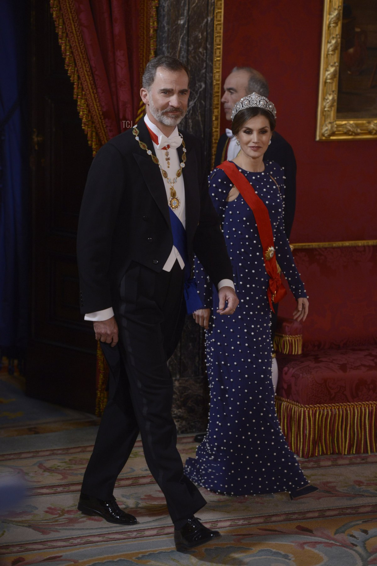 King Felipe VI of Spain and Queen Letizia of Spain host a dinner gala for the President of Portugal Marcelo Rebelo de Sousa at the Royal Palace on April 16, 2018 in Madrid, Spain