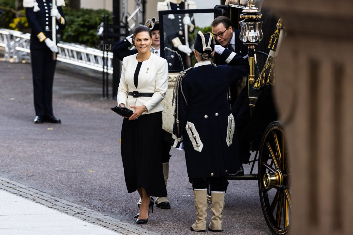 Crown Princess Victoria of Sweden and Prince Daniel of Sweden attend a ceremony in connection with opening of the Swedish Parliament for the 2021/22 work year at the Swedish Parliament House on September 14, 2021 in Stockholm, Sweden