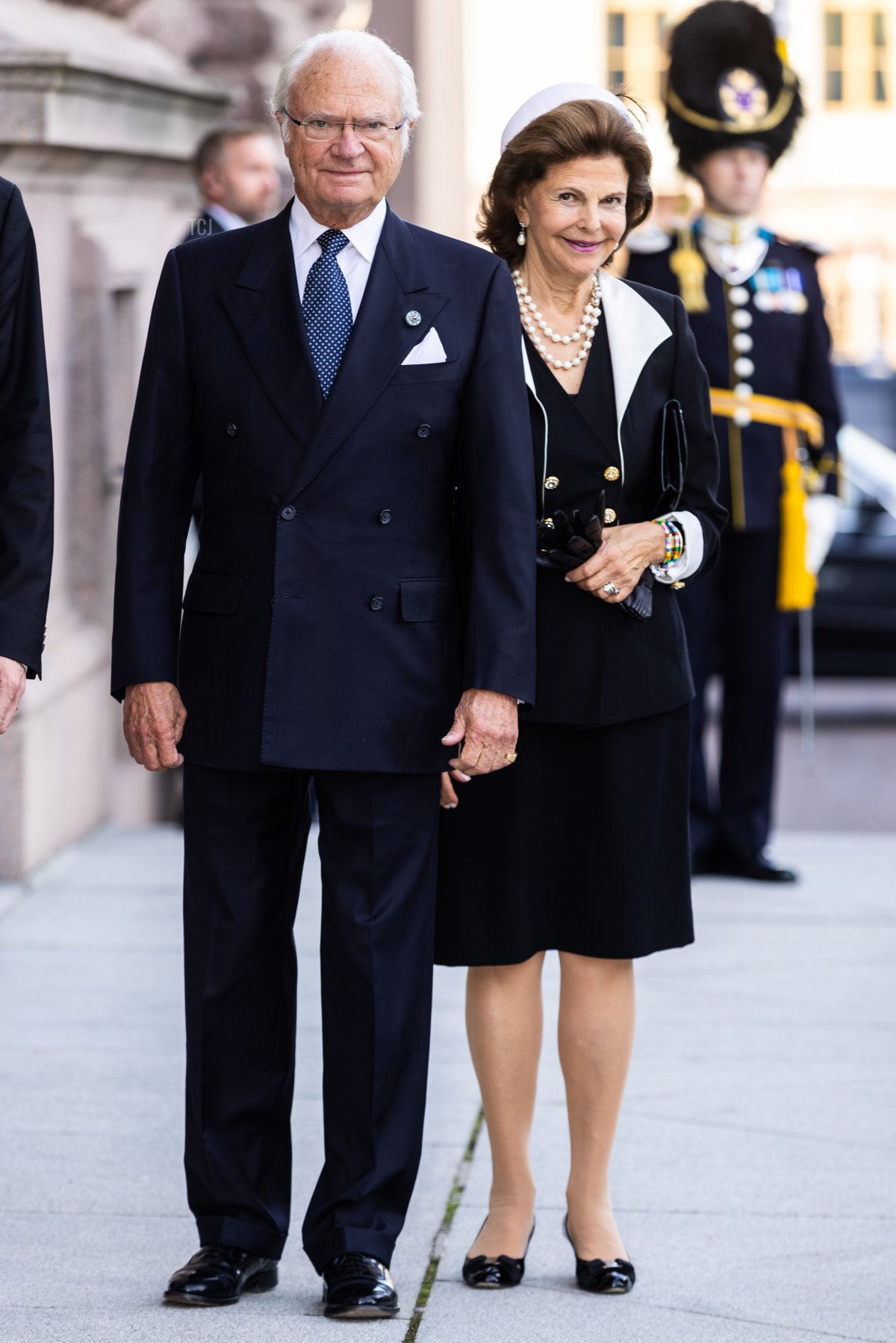 King Carl XVI Gustaf of Sweden and Queen Silvia of Sweden attend a ceremony in connection with the opening of the Swedish Parliament for the 2021/22 work year at the Swedish Parliament House on September 14, 2021 in Stockholm, Sweden
