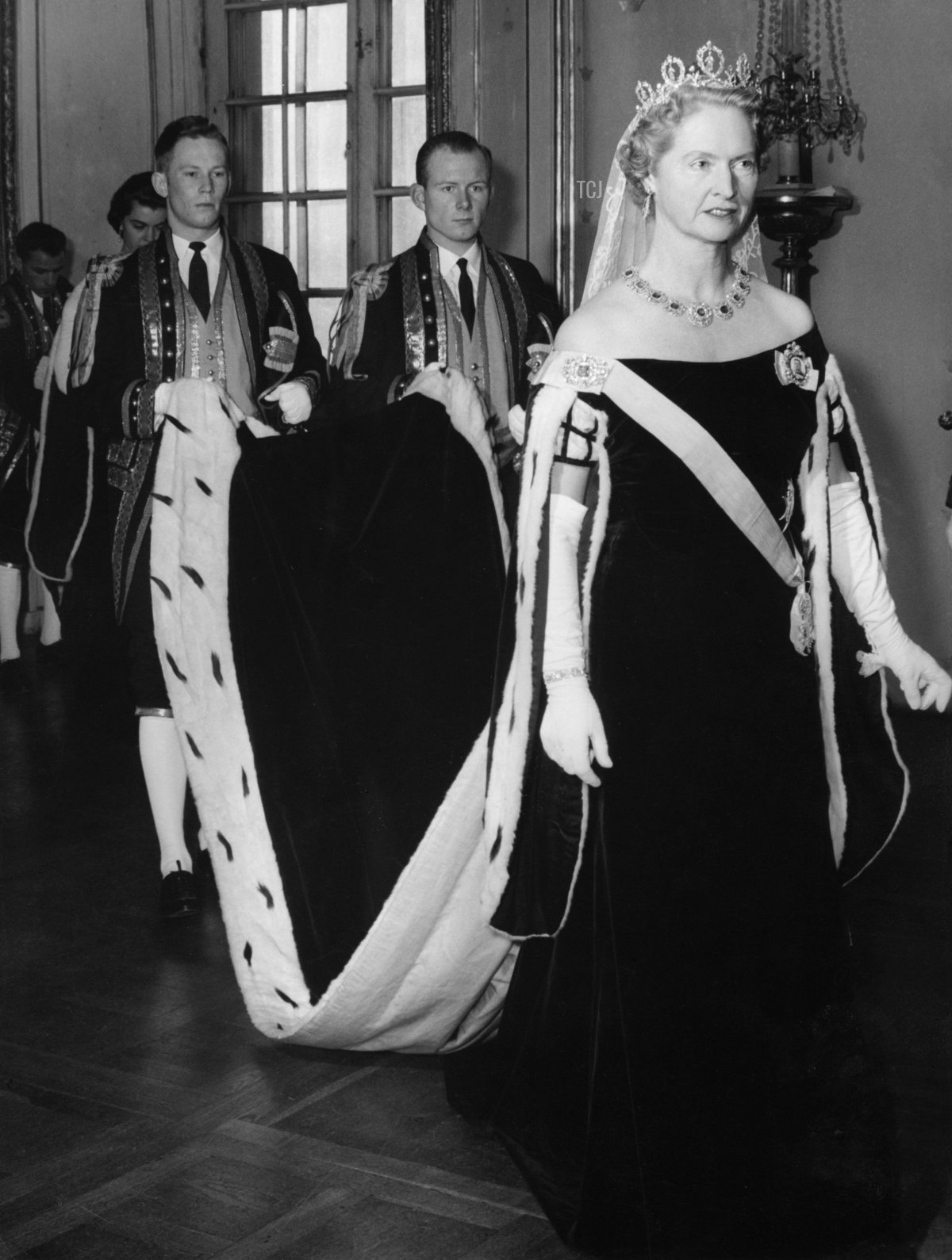 Opening of the Swedish Riksdag (Parliament), Stockholm, Sweden, 1957. Princess Sibylla (1908-1972) on her way to the hall in the royal castle