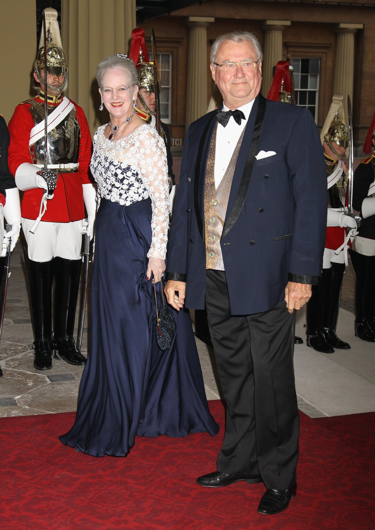 Queen Margarethe II of Denmark and Prince Henrik of Denmark attends a dinner for foreign Sovereigns to commemorate the Diamond Jubilee at Buckingham Palace on May 18, 2012 in London, England