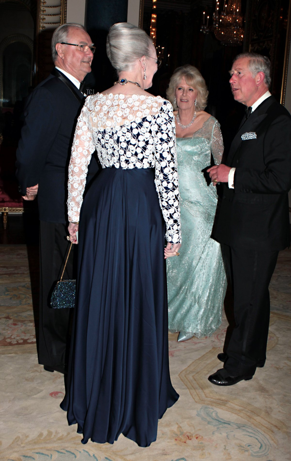 Prince Charles, Prince of Wales and Camilla, Duchess of Cornwall greet Queen Margarethe II of Denmark and Prince Henrik of Denmark as they arrive for a dinner for foreign Sovereigns to commemorate the Diamond Jubilee at Buckingham Palace on May 18, 2012 in London, England