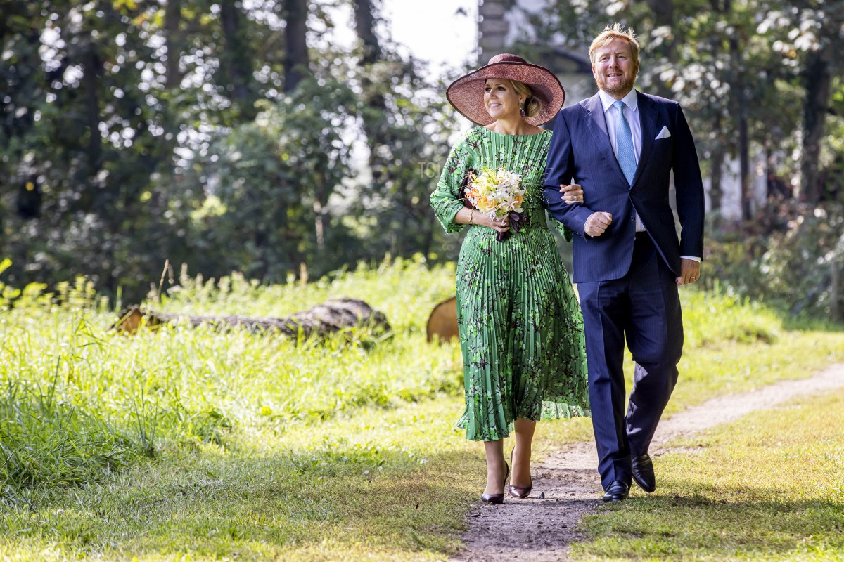 King Willem-Alexander of The Netherlands and Queen Maxima of The Netherlands visit castle De Haere on September 14, 2021 in Olst-Wijhe, Netherlands. The King and Queen are visiting the Dutch region Salland