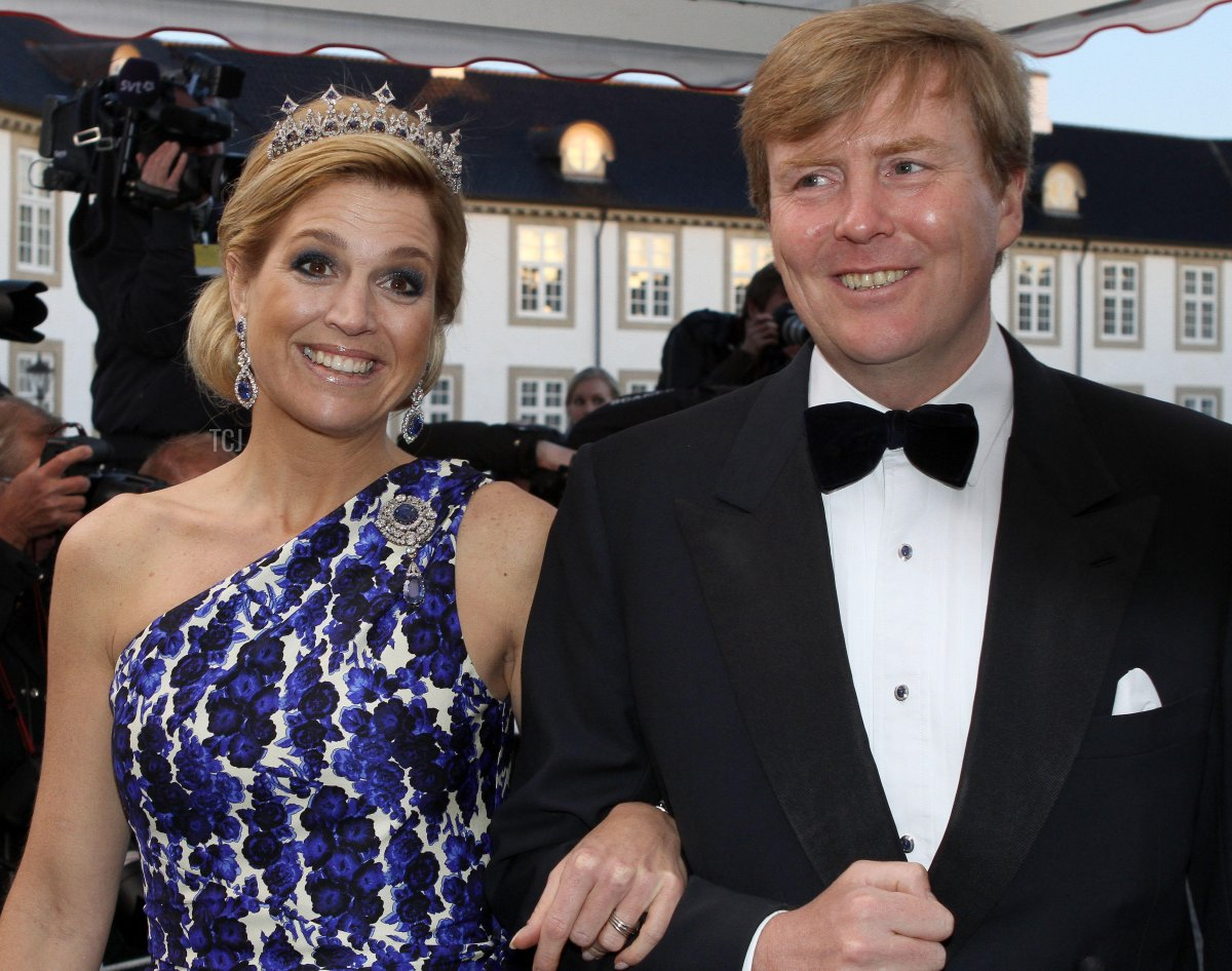 Prince Willem-Alexander and Princess Maxima of the Netherlands arrive at the gala dinner on the occasion of the celebration of the 70th birthday of Danish Queen Margrethe, Fredensborg Palace, Denmark, 16 April 2010