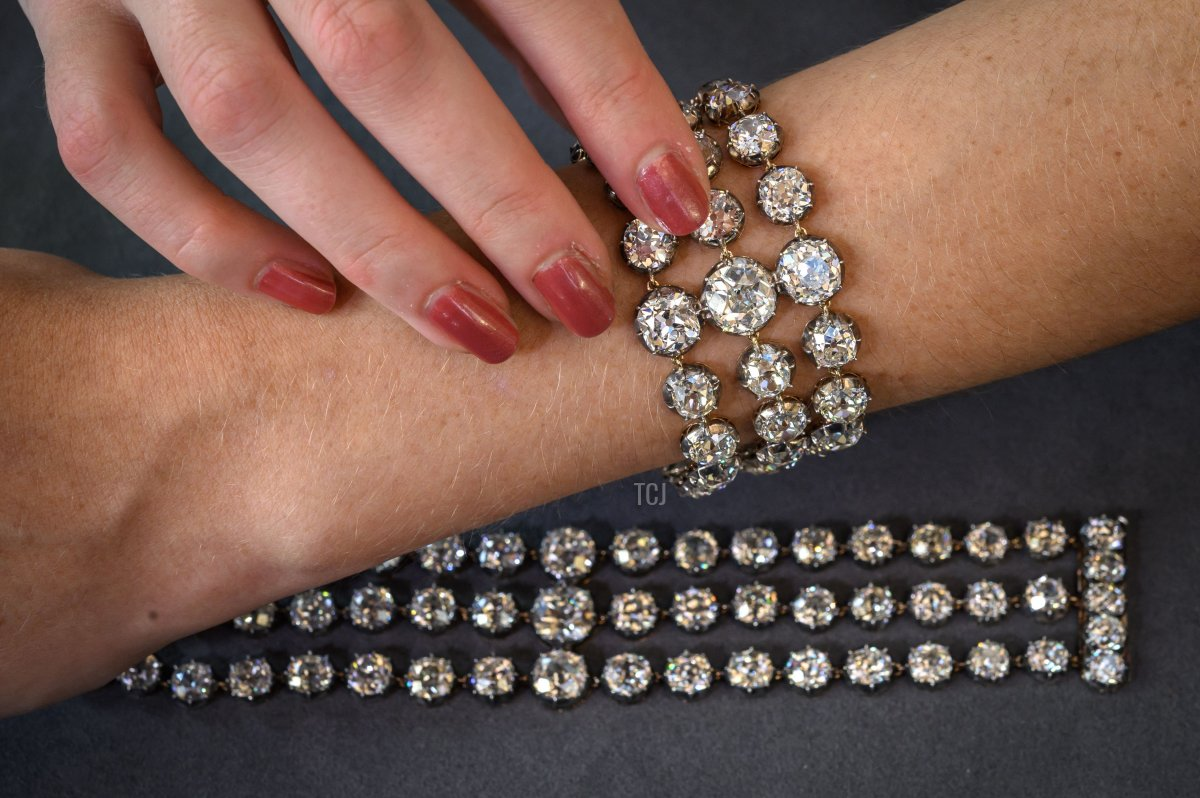 This picture taken in Geneva on September 6, 2021 shows one of the two bracelets belonged to French Queen Marie-Antoinette adorned with three rows of 112 old cut diamonds, that will be offer for the first time for sale at an estimated price of 2 - 4 millions of US dollars (Euro 1,8 - 3,7 millions) by Christie's auction house on November 9 in Geneva