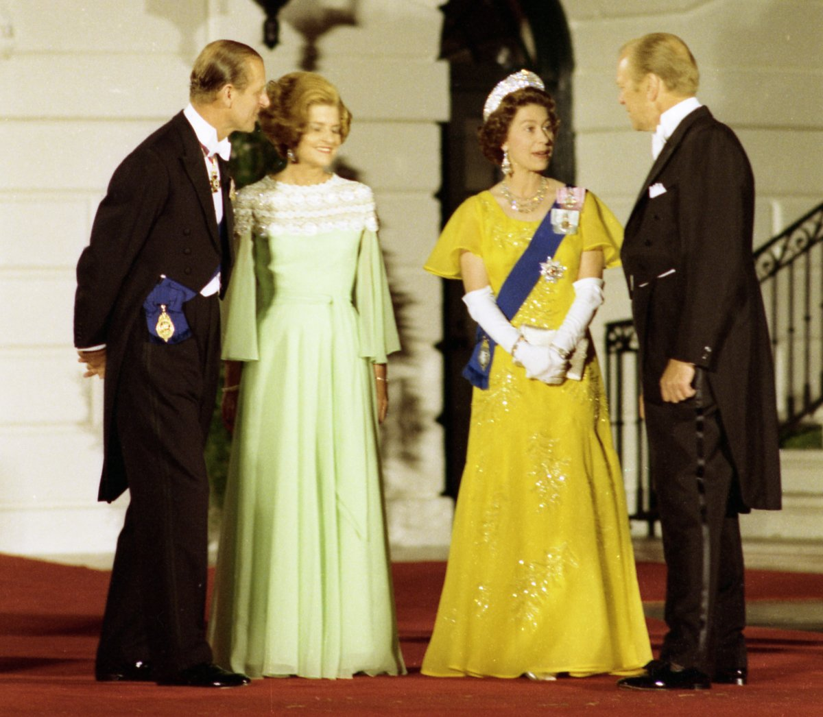 President Gerald R. Ford and First Lady Betty Ford Standing With Queen Elizabeth II and Prince Philip of Great Britain on the South Portico of the White House Prior to a State Dinner Honoring Her Majesty and Prince Philip