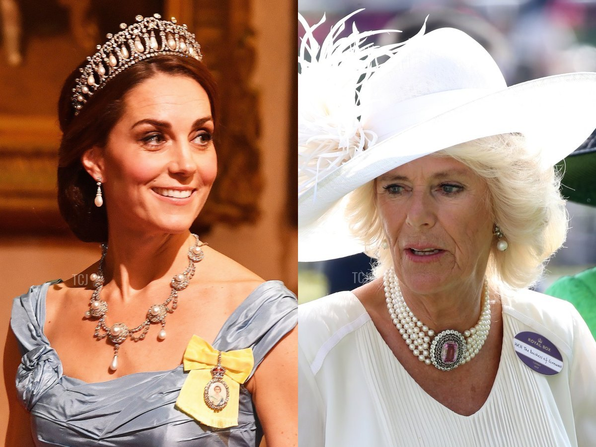 Queen Alexandra's Wedding Necklace and Camilla's Pink Topaz & Pearl Choker