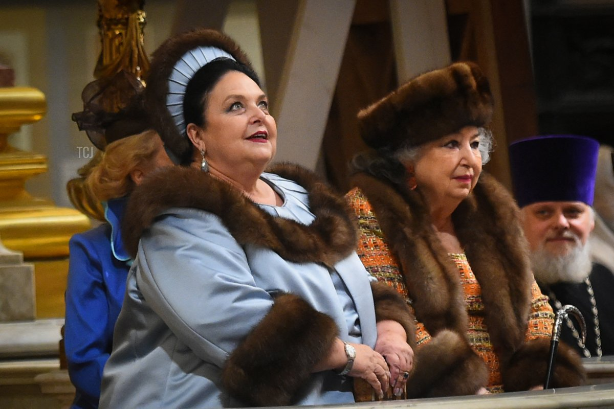 Grand Duchess Maria Vladimirovna of Russia (L) attends the wedding ceremony of her son, Grand Duke George Mikhailovich Romanov, and Victoria Romanovna Bettarini at Saint Isaac's Cathedral in Saint Petersburg, on October 1, 2021