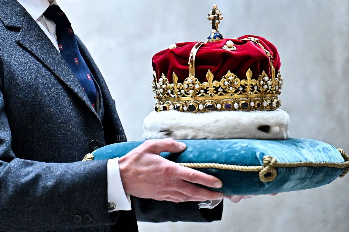 The Duke of Hamilton carries The Crown of Scotland to the Debating Chamber at the opening of the sixth session of the Scottish Parliament in Edinburgh, Scotland on October 2, 2021