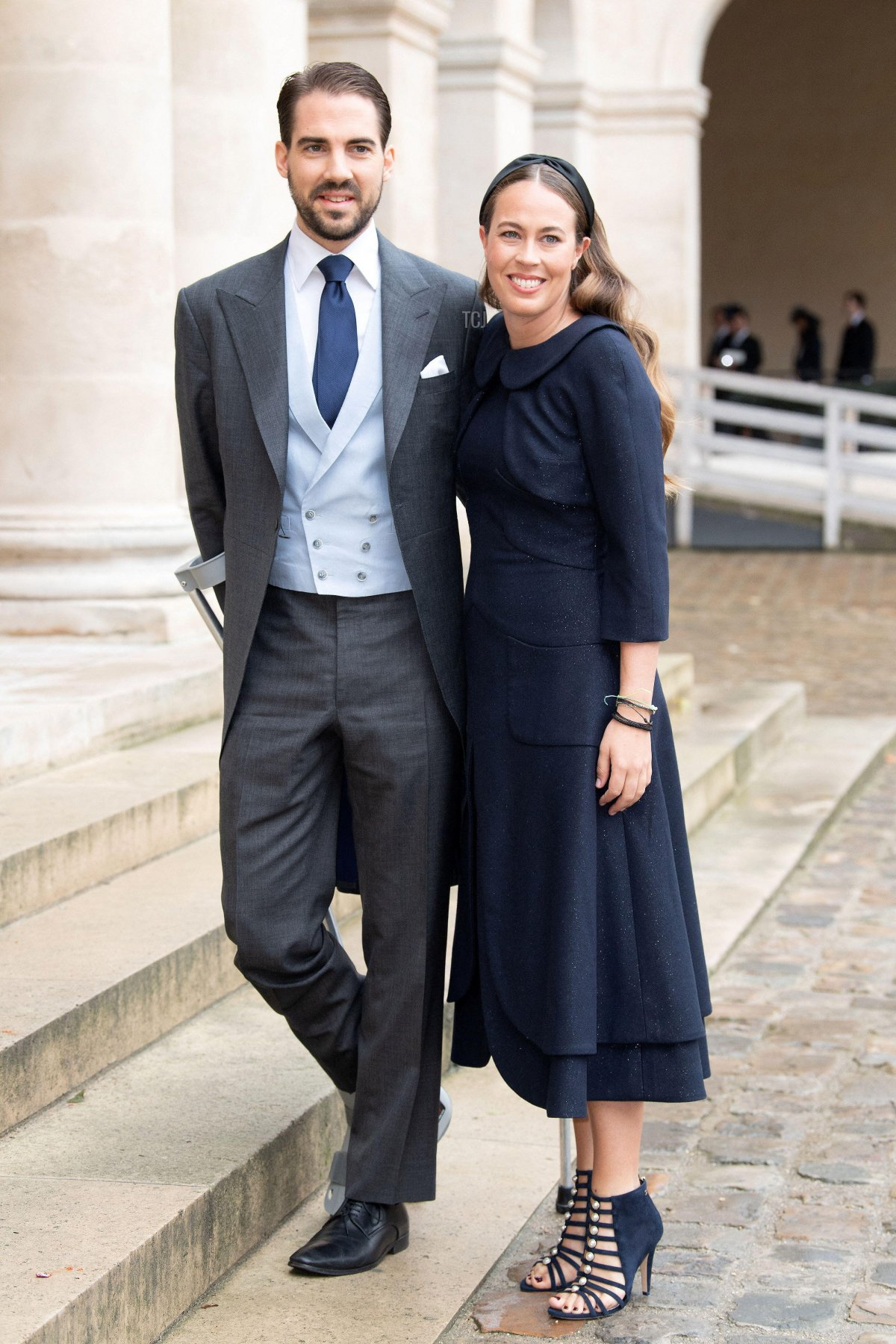 Prince Philippos of Greek and his fiancee Nina Flohn attend the Royal Wedding of Prince Jean-Christophe Napoleon and Olympia Von Arco-Zinneberg at Les Invalides on October 19, 2019 in Paris, France