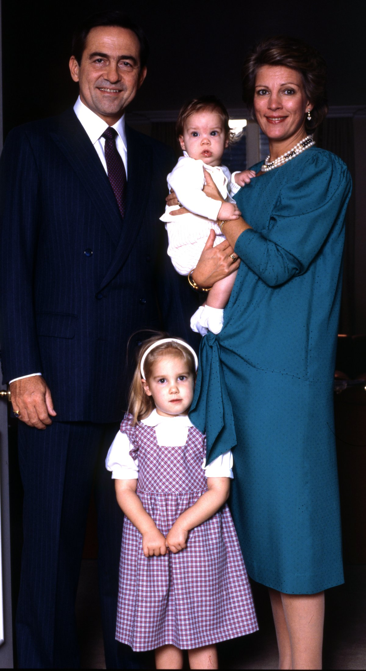 Former King Constantine & Queen Anne-Marie of Greece with two of their children Theodora & Phillippos, 1986