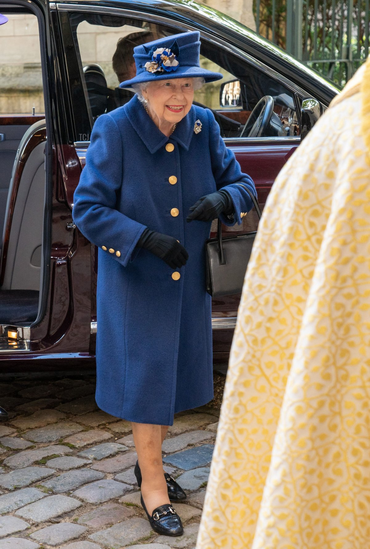 Britain's Queen Elizabeth II arrives to attend a Service of Thanksgiving to mark the Centenary of the Royal British Legion at Westminster Abbey in London on October 12, 2021