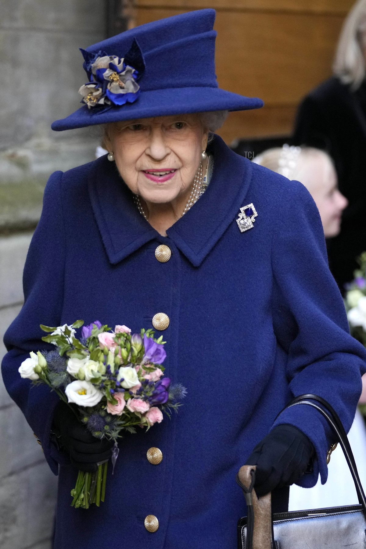 Queen Elizabeth II attends a service of Thanksgiving to mark the centenary of The Royal British Legion at Westminster Abbey on October 12, 2021 in London, England
