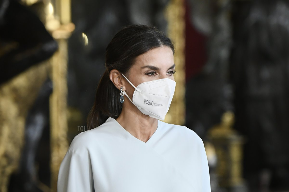 Queen Letizia of Spain attends a reception during the National Day at the Royal Palace on October 12, 2021 in Madrid, Spain