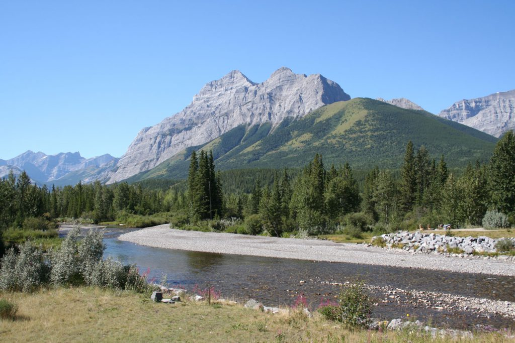 Kananaskis River with Mount Kidd in background.